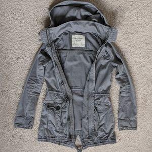 A&F Hooded Gray Long Utility Jacket